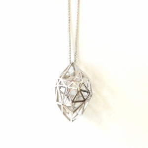 Rough Diamond Pendant Silver on white