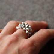Ring Studs Bold Silver Matte on hand