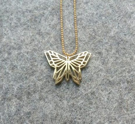 Origami butterfly pendant gold mcode jewellery origami butterfly pendant gold on felt b aloadofball Images