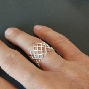 mesh ring silver on hand