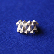 Ring Studs Bold Silver Matte front on blue