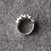 Ring Studs Bold Silver Matte top on grey